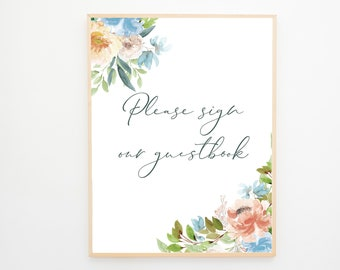 Instant Download - Reception Sign/Guestbook - Blue & Peach Florals (Style 13940)