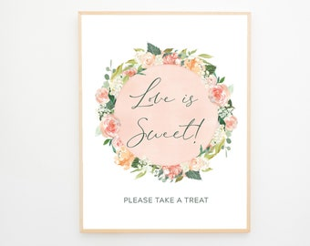 Instant Download - Reception Sign/Love is Sweet - Peach Florals (Style 13939)