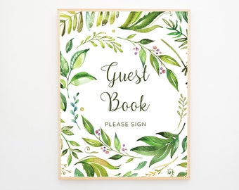 Instant Download - Reception Sign/Guest Book - Rainforest Garden (Style 13701)