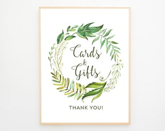 Instant Download - Reception Sign/Cards & Gifts - Rainforest Garden (Style 13701)
