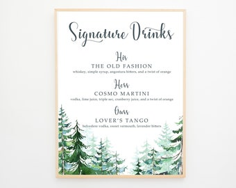 Signature Drinks Sign - Evergreen Forest 2 (13608)