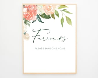 Instant Download - Reception Sign/Favours - Peach Florals (Style 13939)