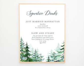 Signature Drinks Sign - Evergreen Forest (13608)