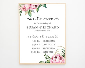 Welcome & Order of Events Sign - Country Bloom (Style 13778)