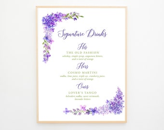 Signature Drinks Sign - Purple Garden (Style 13669)