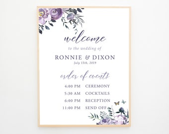 Welcome & Order of Events Sign - Lavender Breeze (13871)