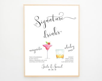 Signature Drinks Sign - Watercolour Beverages (13931)