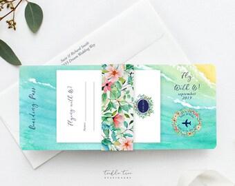 Wedding Invitations/Boarding Tickets - Wanderlust - Tropical Breeze (Style 13836)