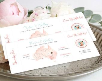 Boarding Ticket Wedding Invitations/Design & Printing - Wanderlust - Destination Wedding (Style 13885)