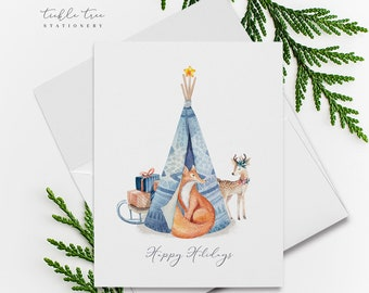 Holiday Greet Card Set - Sweet Animal Themes/Boho