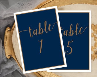 Table Number Cards - Navy & Gold (Style 13804)
