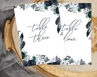Table Number Cards - Navy & Bloom (Style 13815)