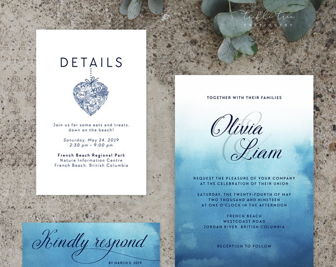 Featured listing image: Printable Wedding Stationery - Ocean Falls (Style 13651)