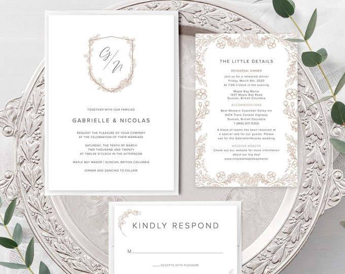Monogram Crest (Style 13970) - Wedding Invitation + RSVP + Insert