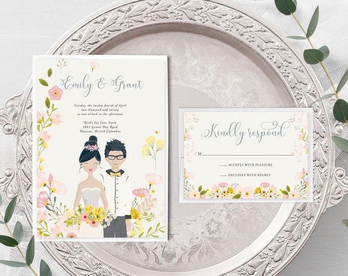 Country Fun/Couple Illustrations (Style 13927) - Wedding Invitation + RSVP