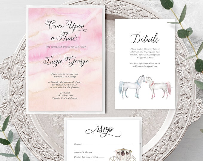 Once Upon A Time (Style 13671) - Wedding Invitation + RSVP + Insert