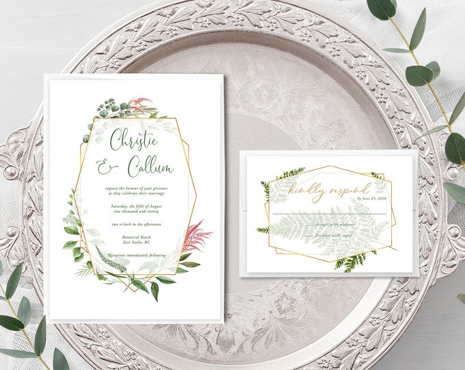Botanical Garden (Style 13910) - Wedding Invitation + RSVP
