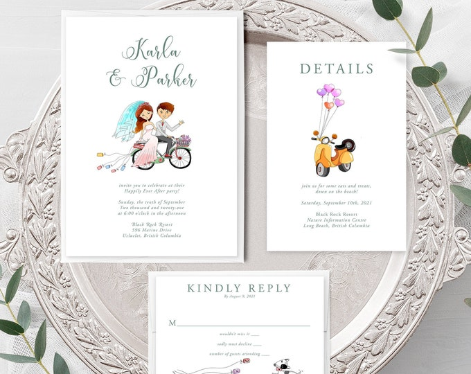 We're Getting Hitched (Style 13501) - Wedding Invitation + RSVP + Insert