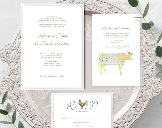 Farm Vintage (Style 13344) - Wedding Invitation, RSVP + Insert
