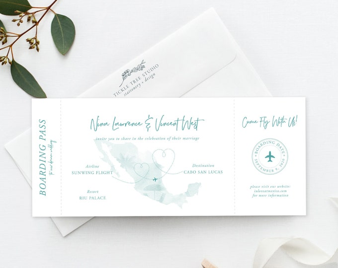 Wanderlust/Come Fly with Us - Ticket Invitation (Style 13884)