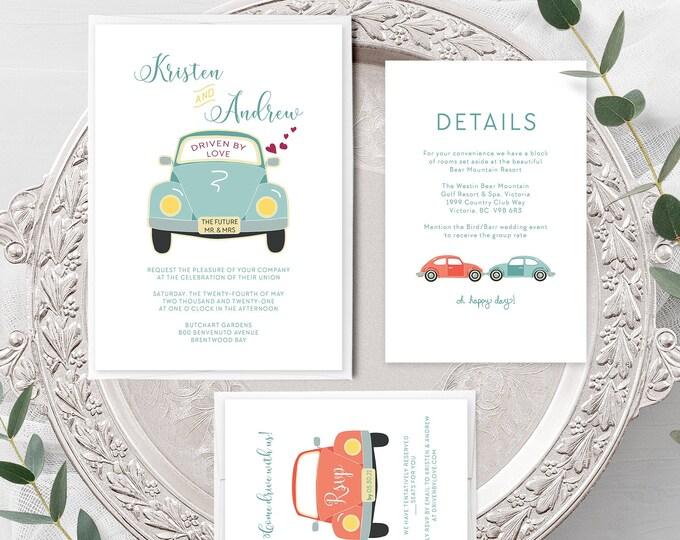 Driven by Love (Style 13633) - Wedding Invitation + RSVP + Insert