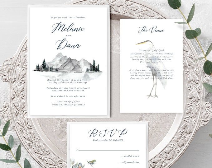 Water's Edge (Style 13917) - Wedding Invitation, RSVP + Insert