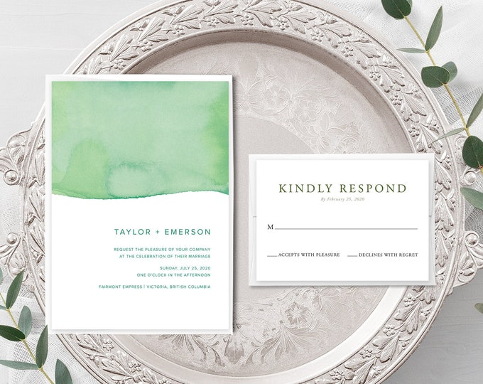 Rainforest Paint Dip (Style 13968) - Wedding Invitation + RSVP
