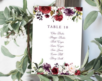 Seating Chart Cards, Printed - Artful Garden (Style 13858)