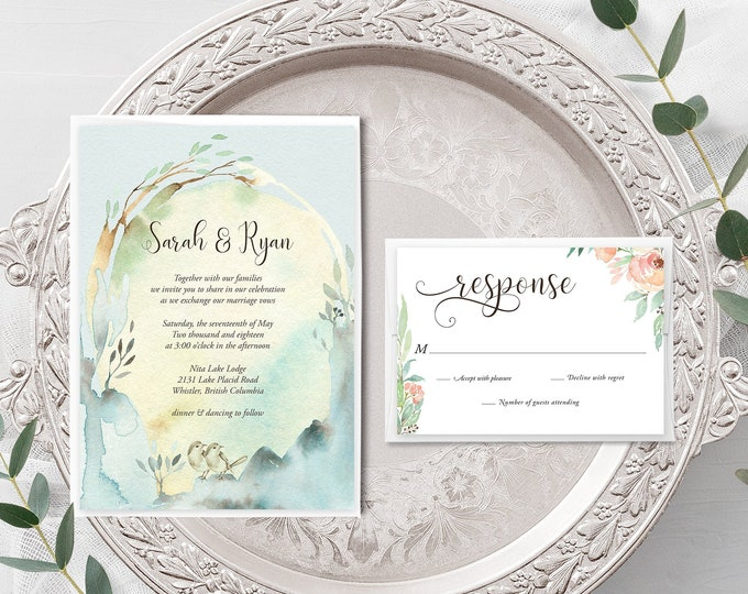 Nature's Dreamers (Style 13821) - Wedding Invitation + RSVP
