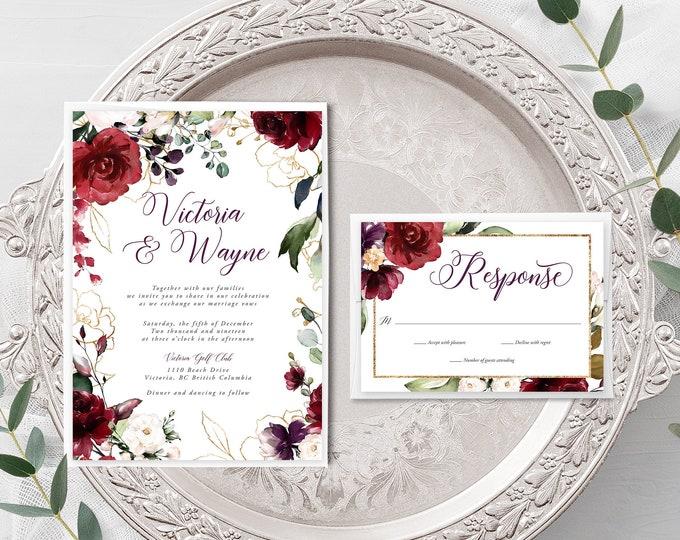 Artful Garden (Style 13858) - Wedding Invitation + RSVP