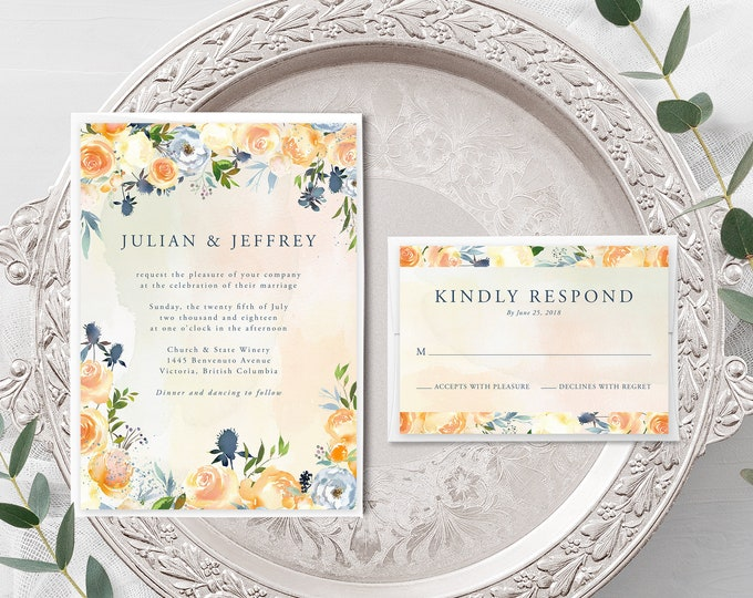 Thistle and Bloom (Style 13796) - Wedding Invitation + RSVP