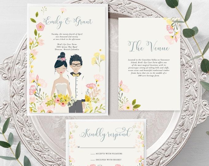 Country Fun/Couple Illustrations (Style 13927) - Wedding Invitation + RSVP + Insert