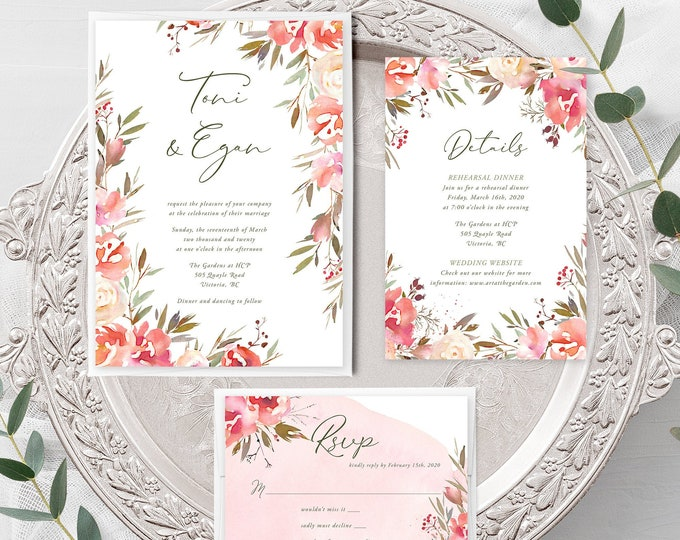 Wedding Day In the Park (Style 13976) - Wedding Invitation + RSVP + Insert