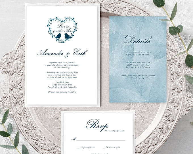 Love is In the Air (Style 13519) - Wedding Invitation + RSVP + Insert