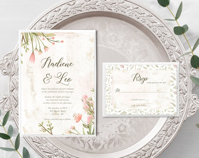 Love is in Bloom (Style 13978) - Wedding Invitation + RSVP