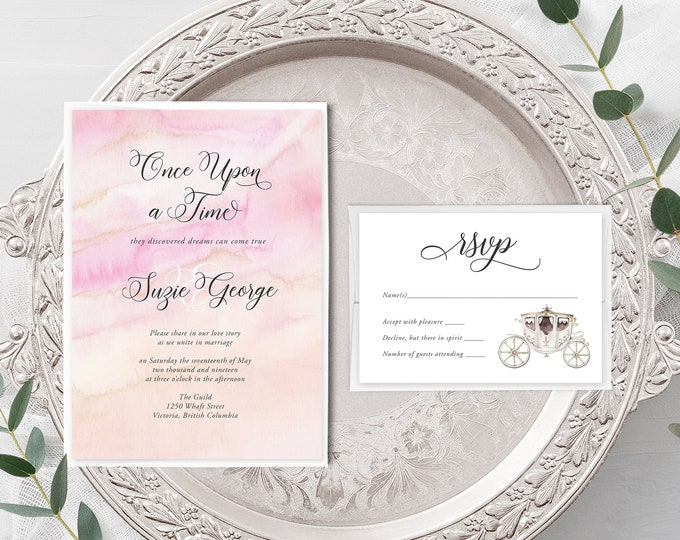 Once Upon A Time (Style 13671) - Wedding Invitation + RSVP