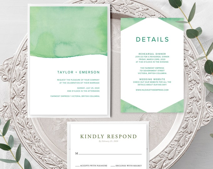 Rainforest Paint Dip (Style 13968) - Wedding Invitation + RSVP + Insert