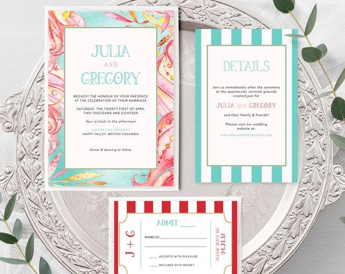 Carnival Whimsy (Style 13773) - Wedding Invitation + RSVP + Insert