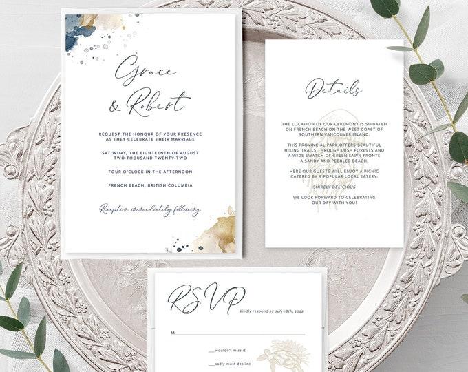 Sea Breeze (Style 13901) - Wedding Invitation + RSVP + Insert