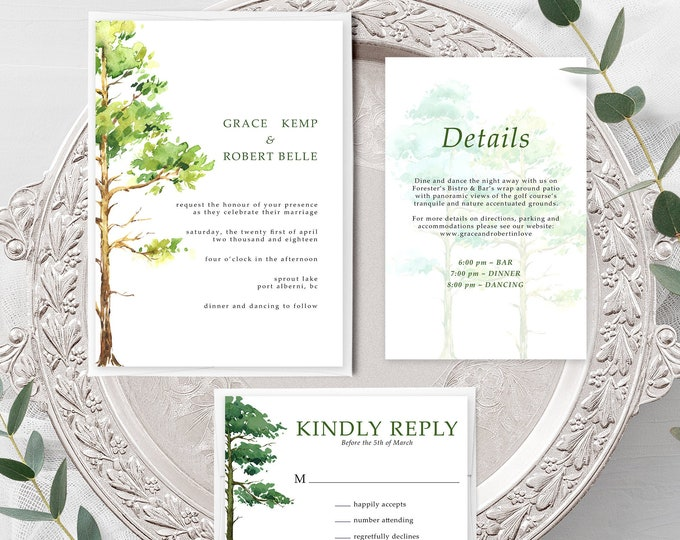 Forest Dreams (Style 13777) - Wedding Invitation + RSVP + Insert