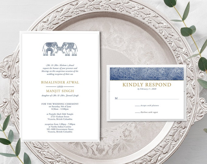 One Heart (Style 13792) - Wedding Invitation + RSVP