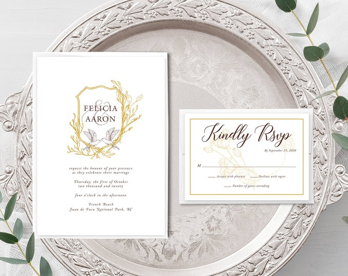 Birds in Flight (Style 13971) - Wedding Invitation + RSVP