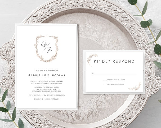 Monogram Crest (Style 13970) - Wedding Invitation + RSVP