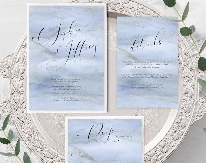 Blue Sands (Style 13761) - Wedding Invitation + RSVP + Insert