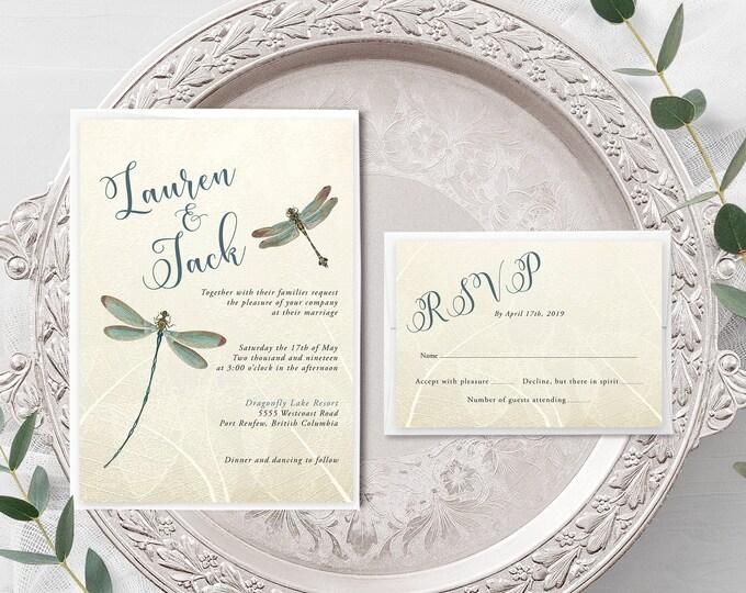 Vintage Dragonfly (Style 13174) - Wedding Invitation + RSVP