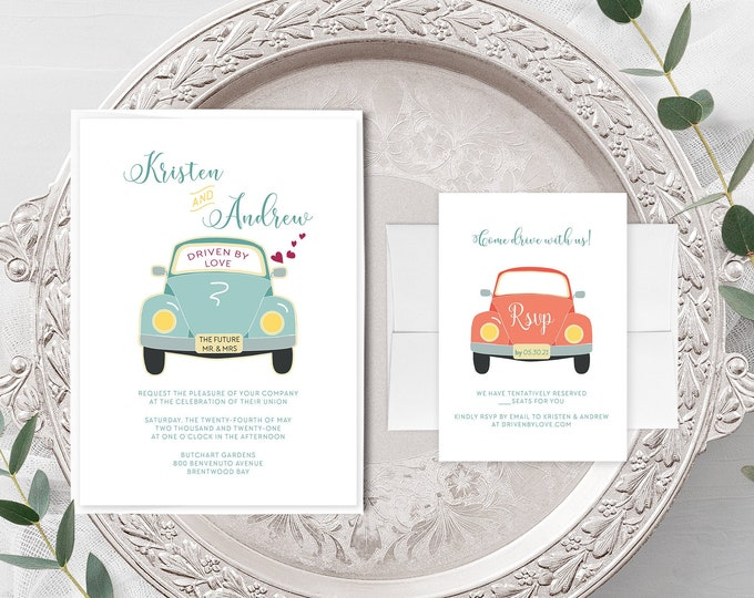 Driven by Love (Style 13633) - Wedding Invitation + RSVP