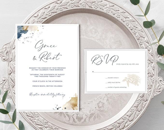 Sea Breeze (Style 13901) - Wedding Invitation + RSVP