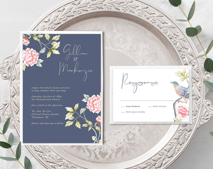 Chinoiserie Motif (Style 13860) - Wedding Invitation + RSVP