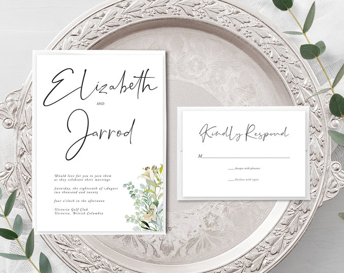 Simple Greenery (Style 13951) - Wedding Invitation + RSVP