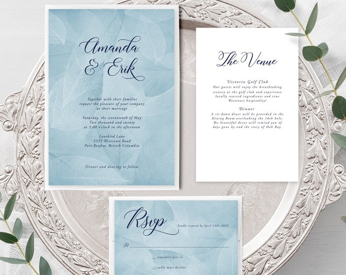 West Coast Whisper (Style 13934) - Wedding Invitation + RSVP + Insert